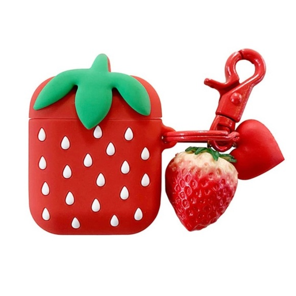 Heart pendant strawberry case for AirPods 1/2